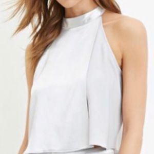 Forever 21 contemporary layered sheeny top